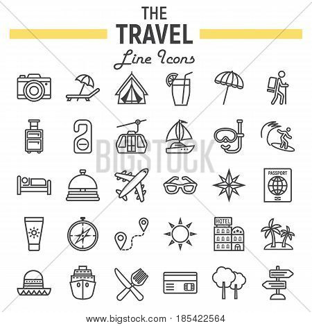 Travel line icon set, tourism symbols collection, transportation vector sketches, logo illustrations, linear pictograms package isolated on white background, eps 10.