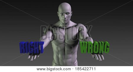 Right or Wrong as a Versus Choice of Different Belief 3D Illustration Render