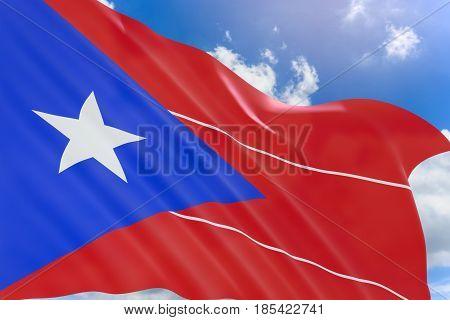 3D Rendering Of Puerto Rico Flag Waving On Blue Sky