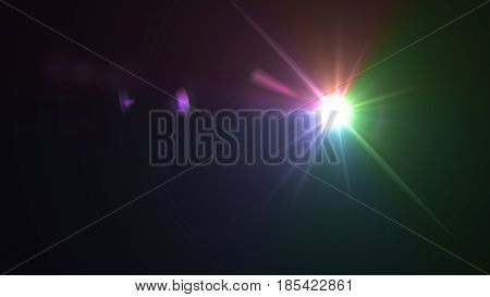 Sun Beam With Color Light Flare