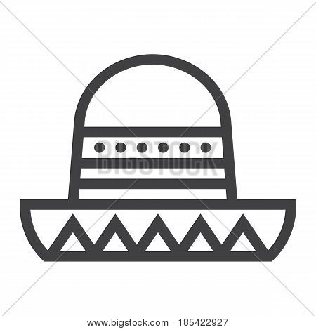 Sombrero Mexican hat line icon, Travel and tourism, vector graphics, a linear pattern on a white background, eps 10.
