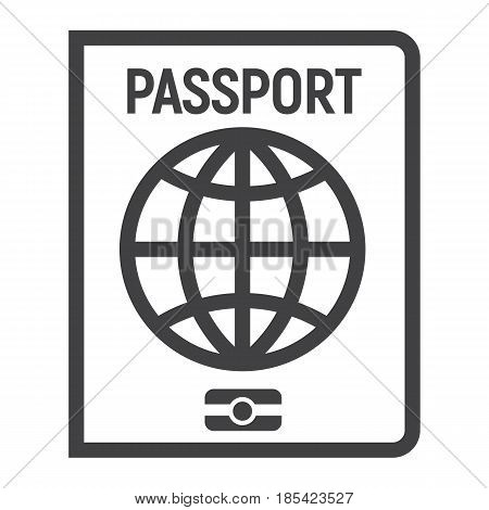 Passport line icon, travel and citizenship element, vector graphics, a linear pattern on a white background, eps 10.