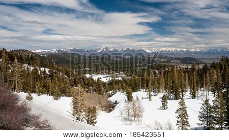 Mammoth Lakes Ski resort and town in snow covered Sierra Nevada mountains in California
