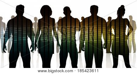 Confident Business Team Looking at You Silhouette 3D Illustration Render