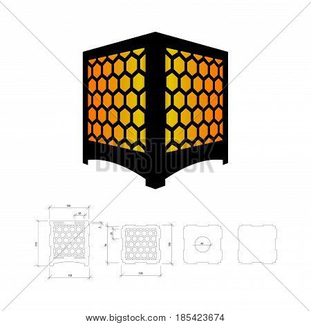 Cut out template for lamp, candle holder, lantern or chandelier (plywood 3 mm).  Shadow box with oriental geometric design. Scheme is suitable for a laser cutting or printing