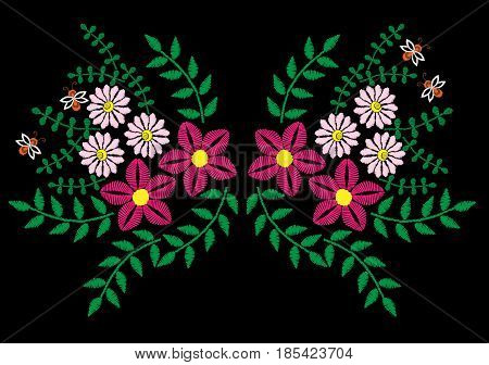 Colorful flower with leaf and bee embroidery stitches imitation. Floral template for neck line on black background. Embroidery vector.
