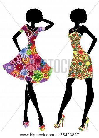 Slim Stylish Women In Short Ornate Colourful Dresses