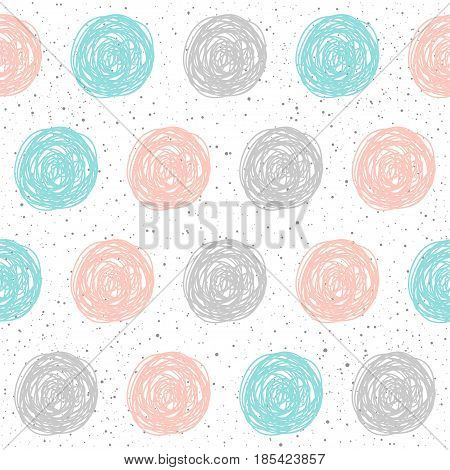 Doodle Circle Seamless Background. Grey, Blue And Pink Circle.