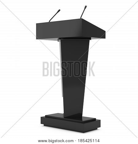 3d Speaker Podium. Black Tribune Rostrum Stand with Microphones. 3d render isolated on white background. Debate, press conference concept