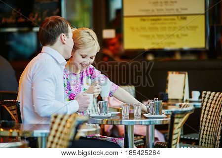 Romantic Loving Couple Drinking Coffee