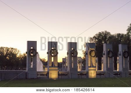 View Of World War Ii Memorial In Washington Dc, Usa.