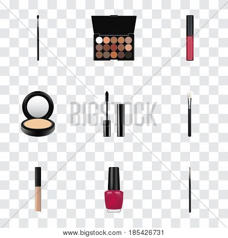 Realistic Make-Up Product, Cover, Eyelashes Ink And Other Vector Elements. Set Of Greasepaint Realistic Symbols Also Includes Brow, Pomade, Eyeshadow Objects.