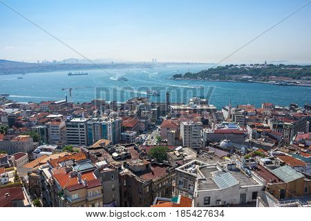 ISTANBUL TURKEY - JUNE 25 2015: Panoramic view of Istanbul and Bosphorus from Galata tower Turkey