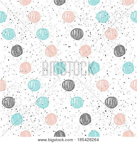 Doodle Circle Seamless Background. Black, Blue And Pink Circle.