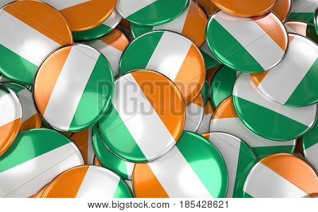 Ivory Coast  Badges Background - Pile Of Ivory Coast  Flag Buttons. 3D Rendering