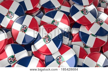 Dominican Republic  Badges Background - Pile Of Dominican Republic Flag Buttons.