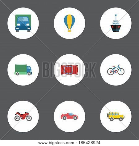 Flat Lorry, Luxury Auto, Bicycle And Other Vector Elements. Set Of Auto Flat Symbols Also Includes Freight, Auto, Bike Objects.