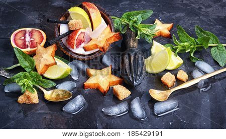 Collage With Drink Of Tropical Fruits