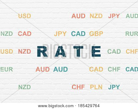 Currency concept: Painted blue text Rate on White Brick wall background with Currency
