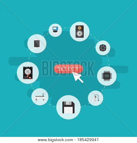 Flat Storage Device, Microprocessor, Amplifier And Other Vector Elements. Set Of Notebook Flat Symbols Also Includes Palmtop, Phone, PC Objects.