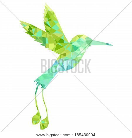vector polygonal green hummingbird silhouette, color triangulation of songbird, isolated vector element