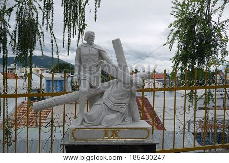 Sculpture from life and Jesus Christ`s death in the Cathedral in Nha Trang, Vietnam