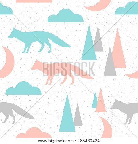 Fox Seamless Pattern Background. Grey, Blue And Pink Abstract Fox