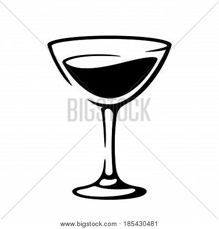 Martini goblet. Glass of vermouth wine. Black and white vector illustration icon