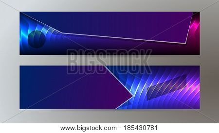 Horizontal Web Banner Background Blue Purple Neon Effect03