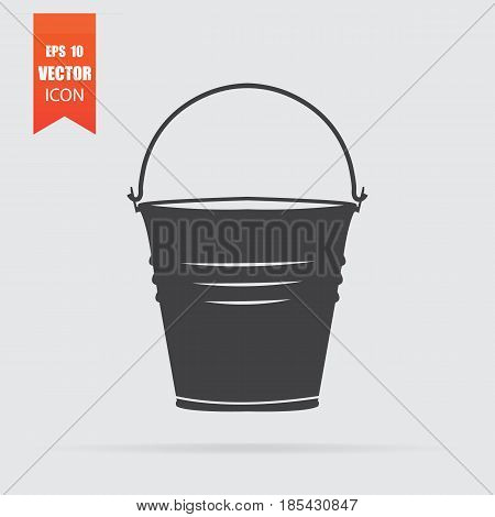 Bucket Icon In Flat Style Isolated On Grey Background.