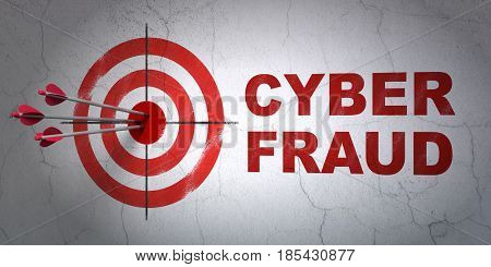 Success protection concept: arrows hitting the center of target, Red Cyber Fraud on wall background, 3D rendering