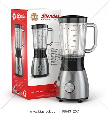 Electric blender with box. Kitchen appliance, equipment isolated on white. 3d illustration