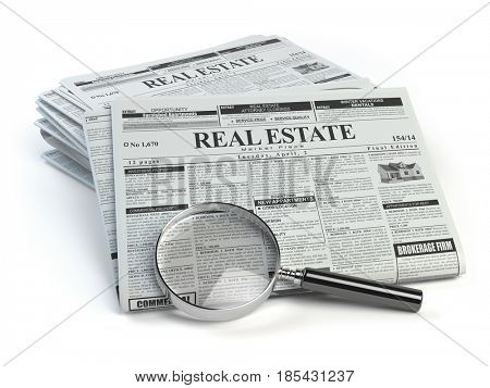 Real estate classifieds ads newspaper  and magnifying glass isolated on white. 3d illustration