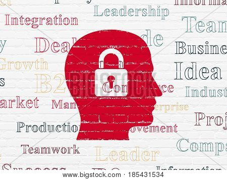 Business concept: Painted red Head With Padlock icon on White Brick wall background with  Tag Cloud