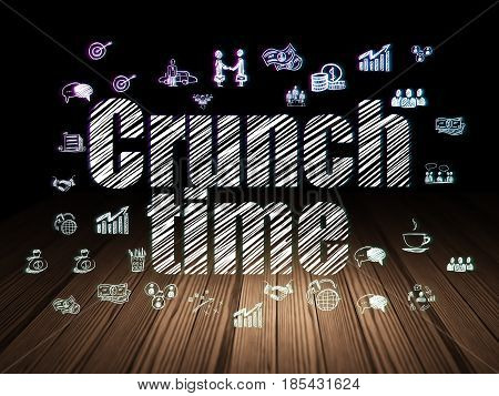 Business concept: Glowing text Crunch Time,  Hand Drawn Business Icons in grunge dark room with Wooden Floor, black background