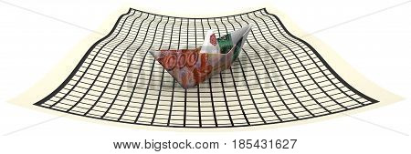Paper boat from an Russian banknote (ruble) sailing on a sheet in a cage. Isolated. 3D Illustration