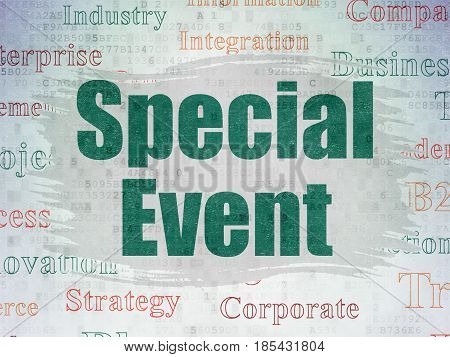 Business concept: Painted green text Special Event on Digital Data Paper background with   Tag Cloud