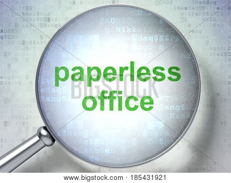 Business concept: magnifying optical glass with words Paperless Office on digital background, 3D rendering
