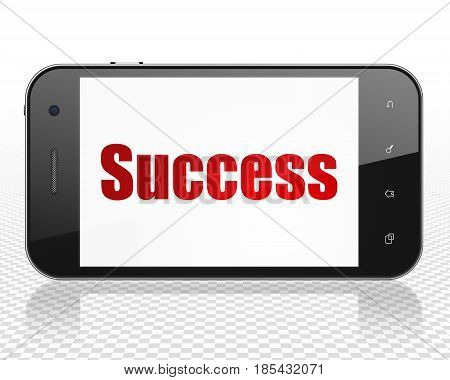 Business concept: Smartphone with red text Success on display, 3D rendering