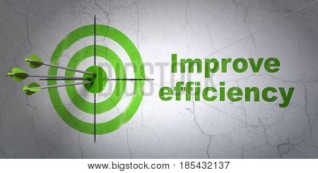 Success business concept: arrows hitting the center of target, Green Improve Efficiency on wall background, 3D rendering