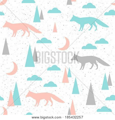 Fox Seamless Background. Grey, Blue And Pink Fox.