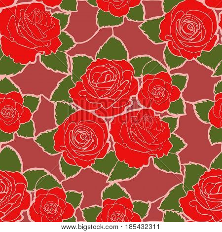 Seamless mozaic floral pattern with red roses and green leaves