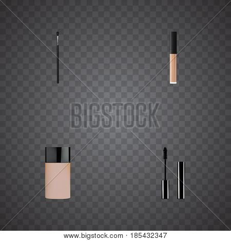 Realistic Concealer, Make-Up Product, Eyelashes Ink And Other Vector Elements. Set Of Greasepaint Realistic Symbols Also Includes Eyelashes, Mascara, Foundation Objects.