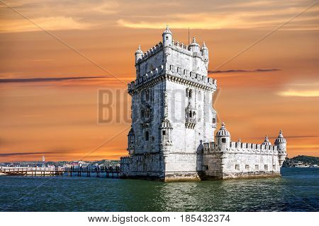 Belem tower architecture sea view, Lisbon city, Portugal