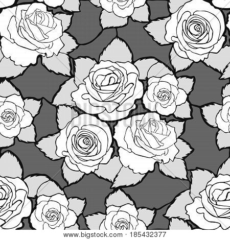 Seamless mozaic floral pattern with white roses and gray leaves