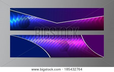 Horizontal Web Banner Background Blue Purple Neon Effect05