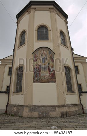 East Side Of Baroque Church Saint Oswald In Traunstein, Germany