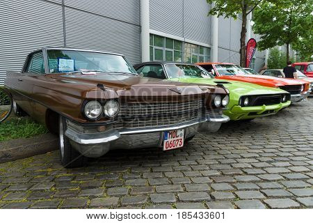 Berlin - May 11: Cadillac De Ville, Dodge Challenger And Chevrolet Chevelle Ss Coupe, 26. Oldtimer-t