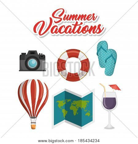 Traveling-related objects and summer vacations sign over white background. Vector illuistration.