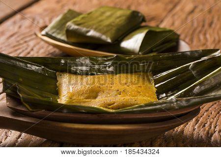 Abara, African Food On Banana Leaf